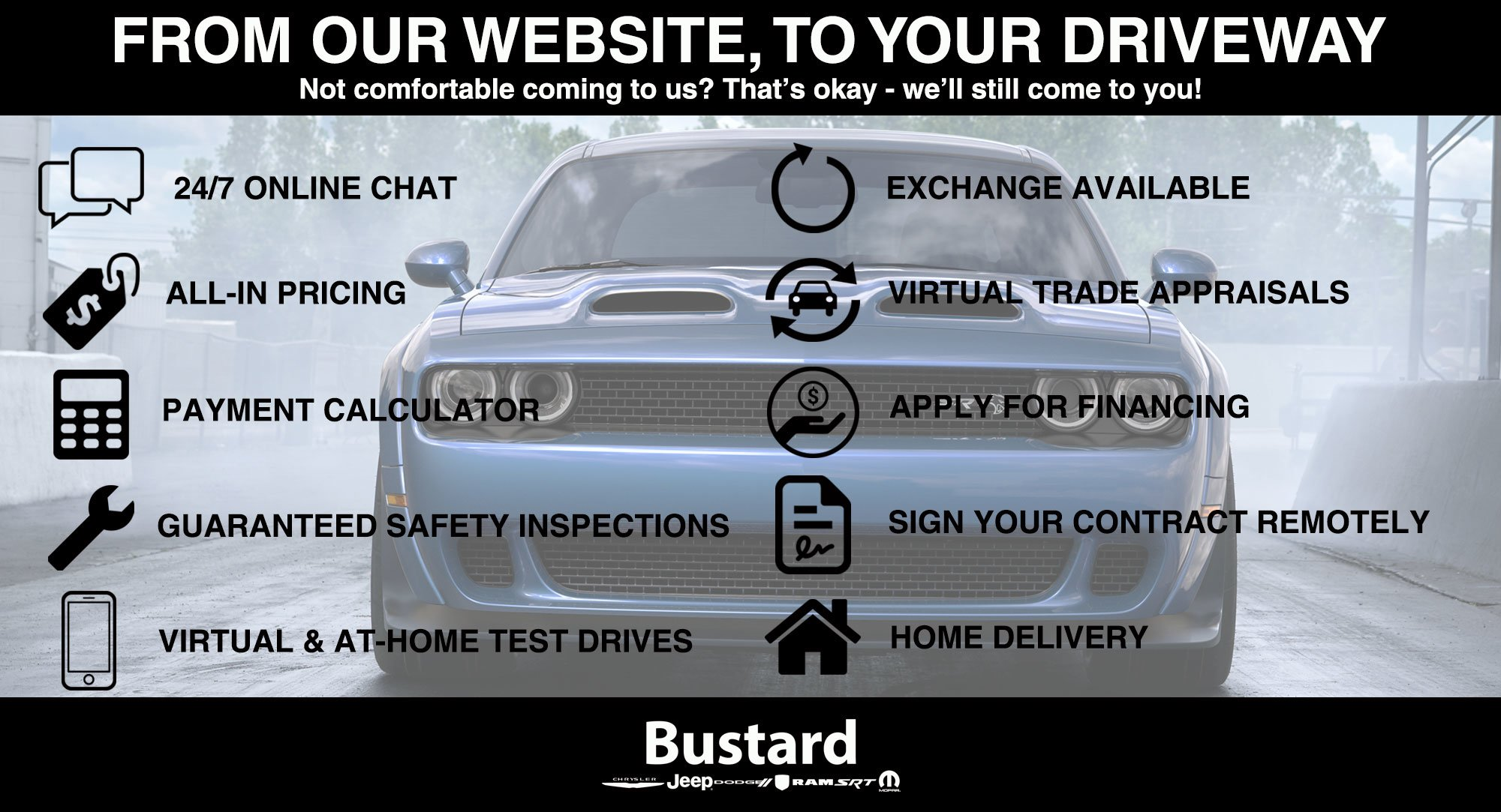 Reasons to buy your new car online at Bustard Chrysler in Waterloo